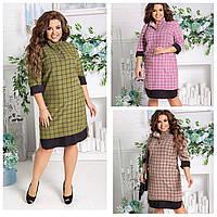 Прямое платье в клетку БАТАЛ 48-62 р-р в расцветках   3839