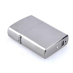 Электроимпульсная USB зажигалка SUNROZ Серебряная (SUN0213)