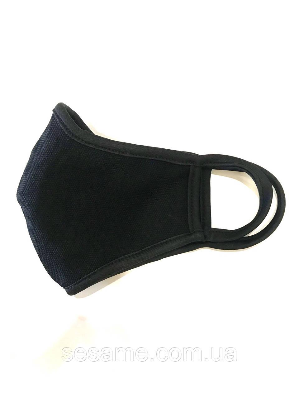 Маска чорна тканинна багаторазова захисна двошарова (5шт.уп)