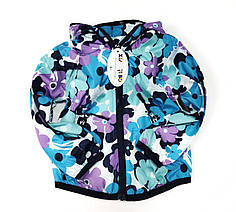Детская куртка ветровка для девочки голубая цветы 3-4 года