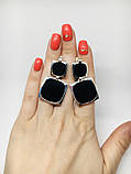 Квадратные серебряные серьги с ониксом Николь, фото 4