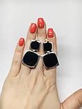 Квадратные серебряные серьги с ониксом Николь, фото 5