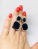 Квадратные серебряные серьги с ониксом Николь, фото 6