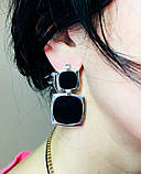 Квадратные серебряные серьги с ониксом Николь, фото 9