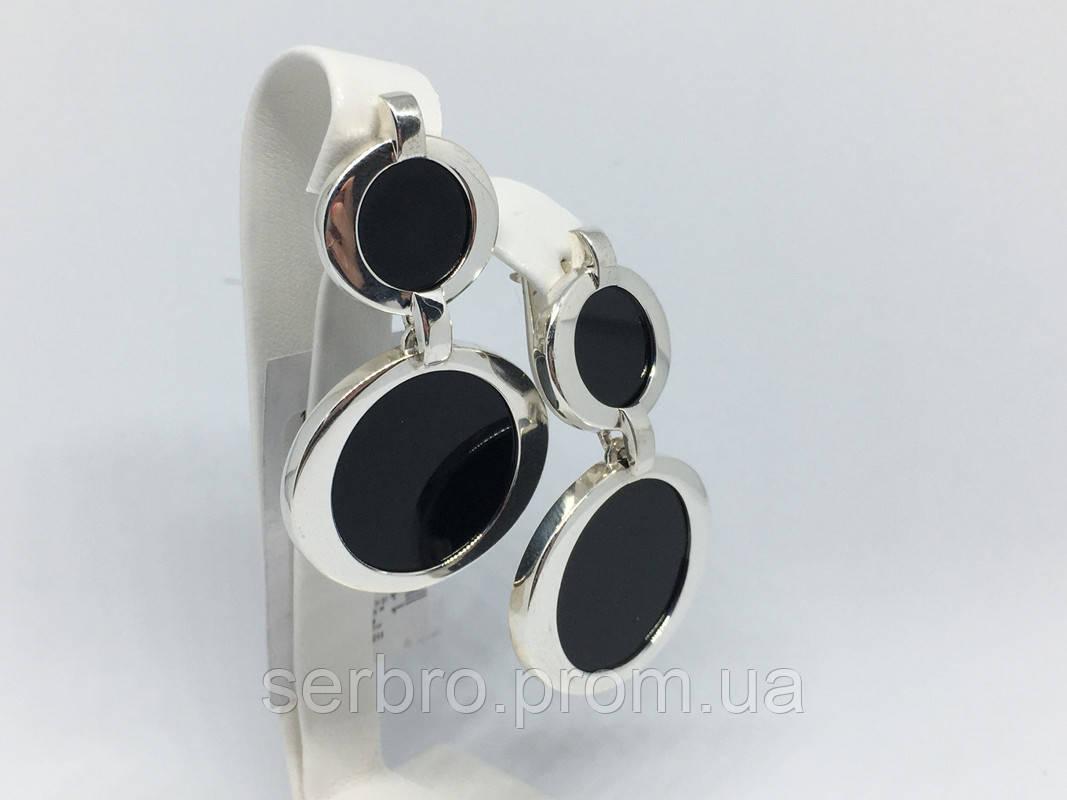 Длинные серебряные серьги с ониксом Китнисс