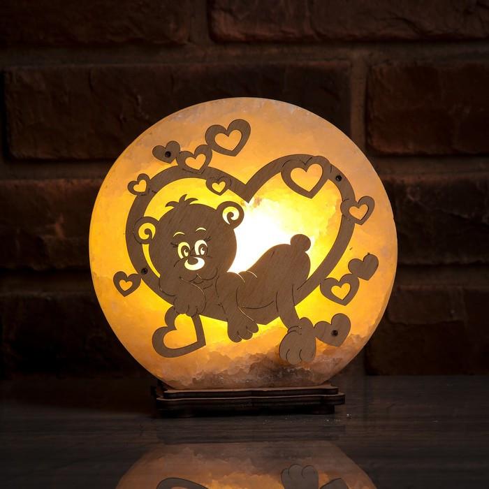 Соляной светильник круглый Мишка в сердце