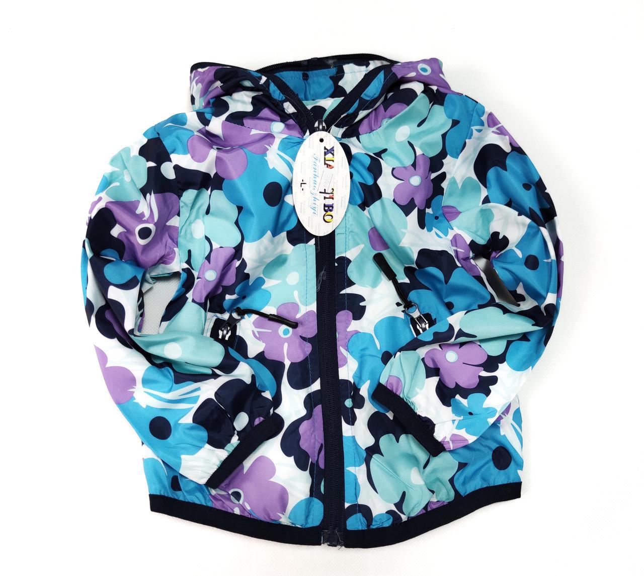 Детская куртка ветровка для девочки голубая цветы 5-6 лет