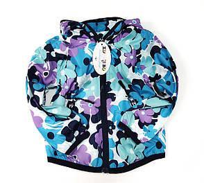 Детская куртка ветровка для девочки голубая цветы 5-6 лет, фото 2