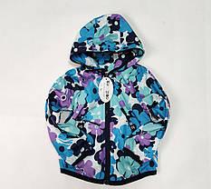 Детская куртка ветровка для девочки голубая цветы 5-6 лет, фото 3