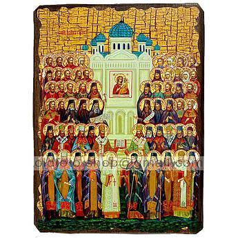 Икона Собор Всех Святых ,икона на дереве 130х170 мм