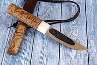 Нож ручной работы Якутский, с рукоятью из карельской берёзы и рогом лося