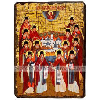 Икона Собор Оптинских старцев ,икона на дереве 130х170 мм