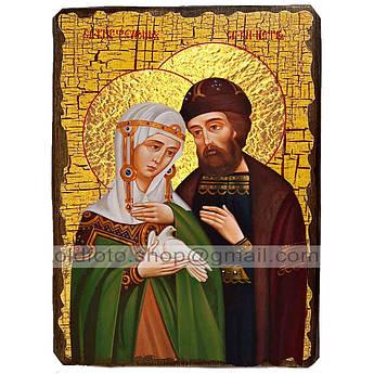 Икона Петр и Феврония с голубем ,икона на дереве 130х170 мм