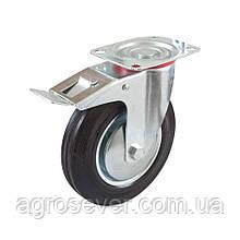 Колесо промышленное Ø 100 мм на поворотном кронштейне с тормозом