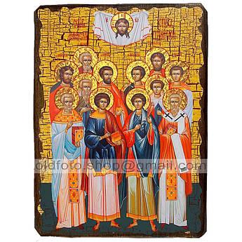 Икона Собор 12-ти святых целителей ,икона на дереве 130х170 мм