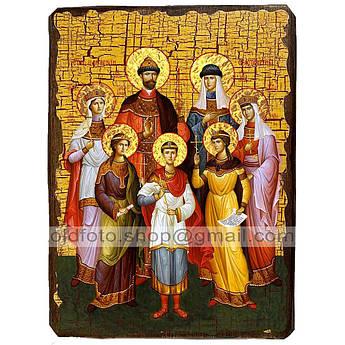 Икона Царственные страстотерпцы Царская семья ,икона на дереве 130х170 мм