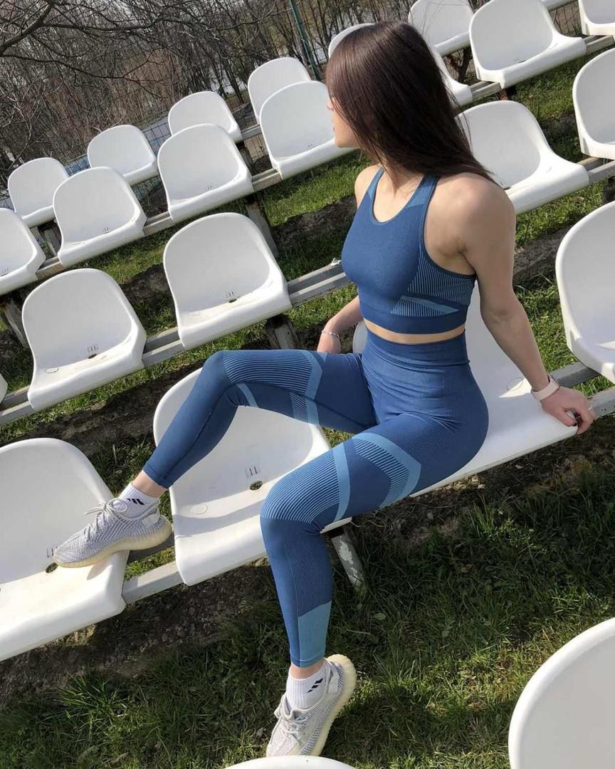 Классный стильный синий женский фитнес-комплект (лосины/топ)  для йоги,фитнеса .очень высокая посадка