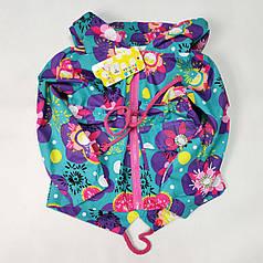 Детская куртка ветровка для девочки зелёная цветы 3-4 года