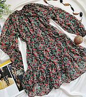 Шифоновое женское платье с рюшем