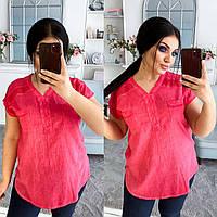 Стильная женская блуза с коротким рукавом 46-48 50-52 54-56