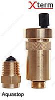"""Afriso 1/2""""х3/8"""" Aquastop автоматический воздухоотводчик c отсечным клапаном, защита от утечки, латунь, 77735"""