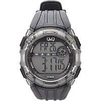Q&Q M118 черные с серым мужские спортивные часы