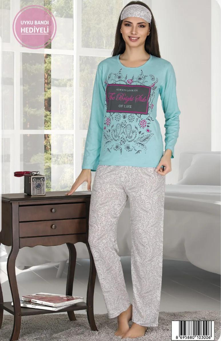 Женская летняя коттоновая пижама с повязкой на глаза Miss Carella /бело-голубая, M-XXL, ТП-80103/