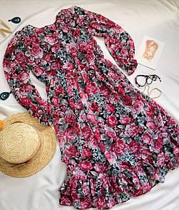 Рожеве жіноче плаття з квітковим принтом
