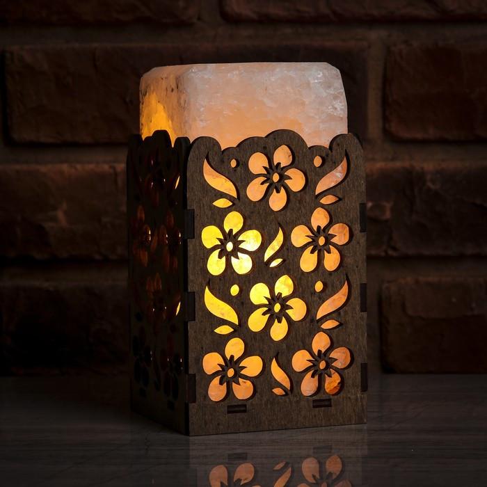 Соляной светильник Прямоугольник в дереве Цветы
