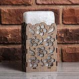 Соляной светильник Прямоугольник в дереве Цветы, фото 3