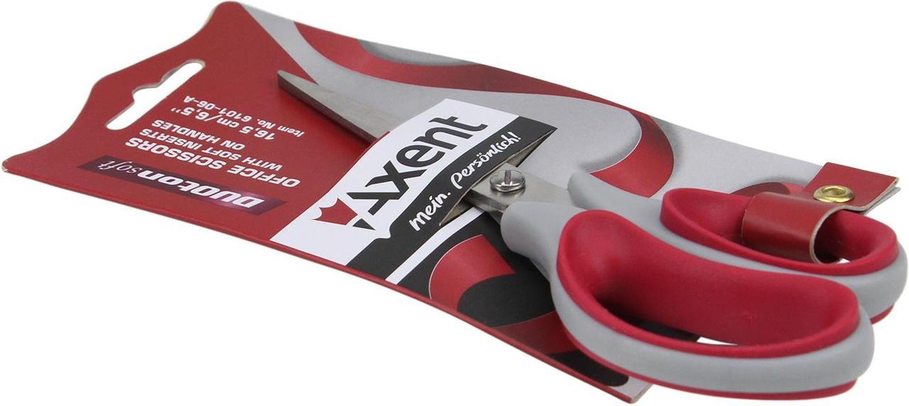 """Ножиці офісн. """"Axent"""" №6101-06 16,5см Duoton Soft сір.-червоні(10)(200)"""