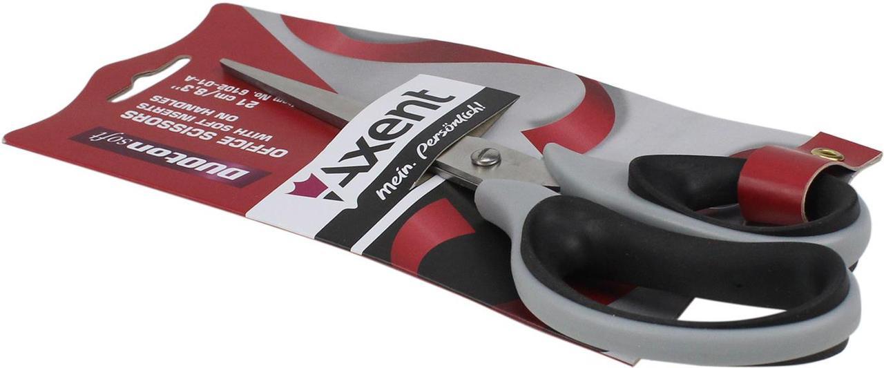 """Ножиці офісн. """"Axent"""" №6102-01 21см Duoton Soft сір.-чорні(10)(100)"""