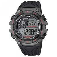 Q&Q M157J черные с красными вставками мужские спортивные часы