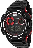 Q&Q M148J черные с красными вставками мужские спортивные часы