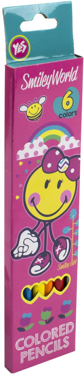 """Олівці кольор. 6 кольор. """"Yes"""" №290399 Smiley World(pink)(24)"""