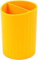 """Підставка для ручок """"Economix"""" №E81982-05, пластик.,2відд.,жовт.(12)"""