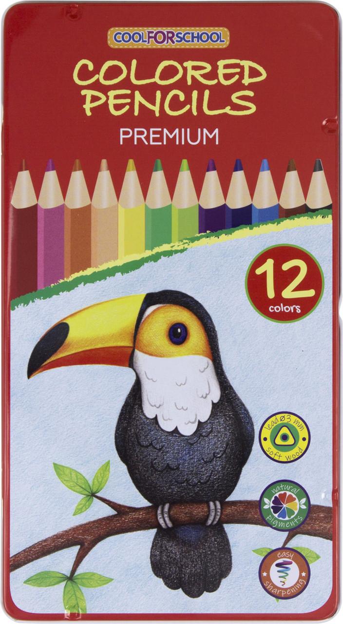 """Олівці кольор. 12 кольор. """"Premium"""" тригран., в метал. кор-ці №CF15178(12)"""