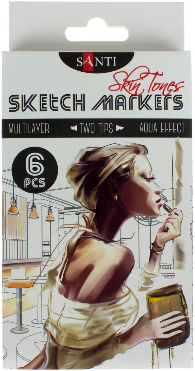 """Набір маркерів """"Santi sketch"""" (6шт) №390568 Skin Tones"""