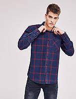 Рубашка синяя джинсовая в клетку SHATON LG  Diverse
