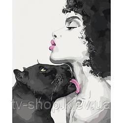 "Картина по номерам ""Поцелуй пантеры"" Идейка  ,50х40 см"