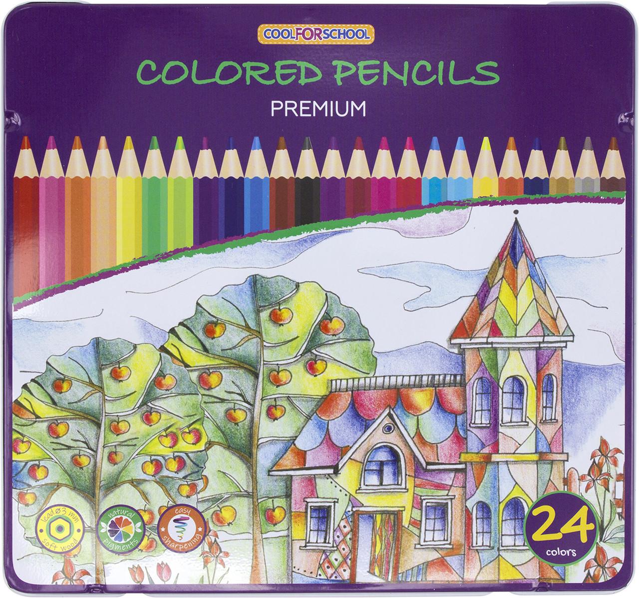 """Олівці кольор. 24 кольор. """"Premium"""" №CF15174 шестигран., в метал. кор-ці(6)"""