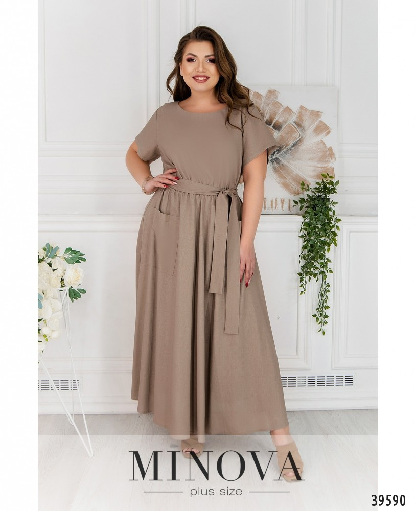 Симпатичное батальное платье  с расклешенным подолом,  размер  52-54, 64-66