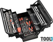 Набор инструмента для авто в раскладном ящике 62 шт Yato YT-3895