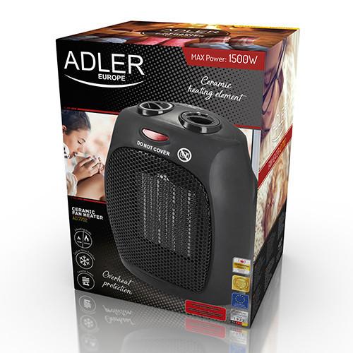 Керамический тепловентилятор Adler AD 7702 напольный, бытовой мощность 750-1500вт