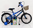 16-STORM  Детский велосипед синий с боковыми колесами от 5 лет  Сборка 85%, фото 7