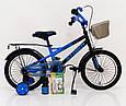 18-STORM Дитячий велосипед c металевим багажником і бічними колесами синій від 6 років Збірка 85%, фото 2