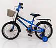 18-STORM Дитячий велосипед c металевим багажником і бічними колесами синій від 6 років Збірка 85%, фото 3