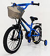 18-STORM Дитячий велосипед c металевим багажником і бічними колесами синій від 6 років Збірка 85%, фото 4
