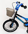 18-STORM Дитячий велосипед c металевим багажником і бічними колесами синій від 6 років Збірка 85%, фото 6