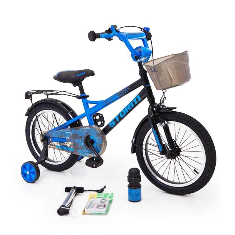18-STORM Дитячий велосипед c металевим багажником і бічними колесами синій від 6 років Збірка 85%